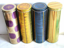 "4 Gold Blue Purple Graphics Metal Cylinder Cookie Tins 10x3"" FREE SH"
