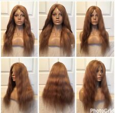 """20"""" Glueless #4#27#613 Brown Blonde Highlights Remy Human Hair Front Lace Wig"""
