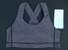 NWT Lululemon ALL SPORT Sports Bra HYPER Stripe MAUVELOUS Black (Size 08)