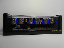 Nixie Clock with 6xIN-12 tubes & metallic black case & alarm cold war era