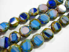 16 Awesome Czech Glass Amethyst Pink Blue Picasso Table Cut Octagon Beads 12mm