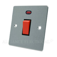 Brushed Matt Satin Chrome Flat 45A Cooker Switch - 45 Amp DP Switch 1G 2G Plate