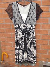 Ladies Short Sleeved Black with Floral Design & Lace Detail Size 10