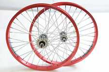"PAIR 20"" BMX WHEELS ANODISED RED ALUMINIUM ""ALIENATION"" WIDE RIMS 3/8"" AXLE NEW"