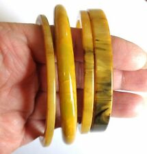 Lot of 4 Vtg Mississippi Mud Marbleized Bakelite Bracelet Bangles