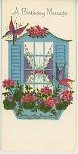 VINTAGE WHITE HOUSE BLUE SHUTTERS WINDOW BOX GERANIUM FLOWERS CARD ART PRINT