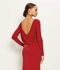 NEW VERA WANG Cowl Back Long Sleeve DRESS GOWN SIZE 4 $328 PIRATE RED NORDSTROM