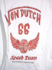 VON DUTCH LONG SLEEVE SILKSCREEN T-SHIRT SPEED TEAM NEW