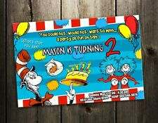 DR. SEUSS BIRTHDAY PARTY INVITATION CAT IN THE HAT CARD CUSTOM BABY SHOWER H2