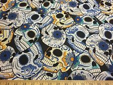 "Blue/Gold Skulls Allover Flower Power 2 Way Stretch Poly Lycra Fabric 58""W BTY"