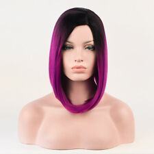 L-Parting Short Bob Hair Style Black root purple ombre Choppy Wave Wig Wigs