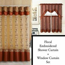 Cinnamon Shower Curtain and 3Pc Window Curtain Set: Bathroom Decor, Double Layer
