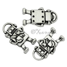 10PCs Robot With Heart Wholesale Silver Plated Pendant Charms - C3548