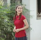 Hot Sale red Chinese Tradition Women's cotton/linen Shirt Blouse Tops s-2XL