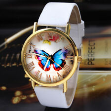 Womens Watch Ladies Butterfly Style Leather Band Analog Quartz Wrist Watch New