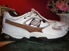 MENS SKECHERS life style brand white leather w/brown trim 10.5M excellent c