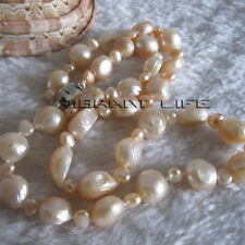 """20"""" 4-11mm Peach Pink Baroque Mother of Freshwater Pearl Necklace Jewelry U"""