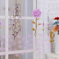 Purple Rose Voile Door Window Curtain Panel Sheer Tulle Drape Beads Valance