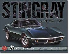 1968 Chevy Stingray Corvette 427 Advertising Ad Wall Garage Decor Metal Tin Sign