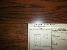 1976 Buick Electra & Riviera Series Models 455 V8 SUN Tune Up Chart Great Shape!