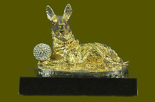 Art Deco Bronze Sculpture Statue Figure German Shepherd Dog 24K Gold Deco