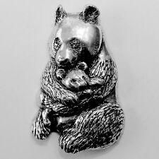 Giant Panda Pewter Pin Brooch - British Artisan Signed Badge - Bear Zoo China