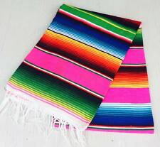 XLg 5X7 Ft Mexican Zarape Handmade Woven Blanket Decor Throws Multi Colored