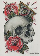 Temporary Tattoo Fake Tattoo Scull&Roses 20x11,5cm Medium wasserfest(V-046)
