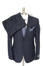 Men's BELVEST Navy Striped Super 110's Wool 2Btn Flat Front Suit 54 7R 44 R NWT