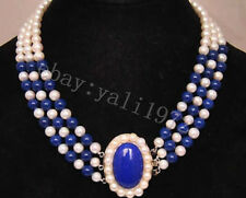 3 Rows 7-8mm white freshwater pearl & blue lapis lazuli necklace 17-19""