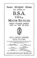 1926 BSA 2.49hp B26 instruction book