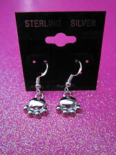 925 Sterling Silver Paw Print Dangle Earrings