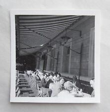 1950s B/W Photograph. English Teatime under the Hotel Awning. Perspective Shot