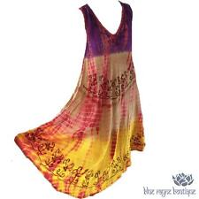 Free Size Purple Ombre Hand Embroidered Bamboo Tie Dyed Rayon BoHo Hippie Dress