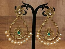 Indian Pakistani Ethnic Bollywood Gold Plated Green Pearl Moti Jhumki Earring