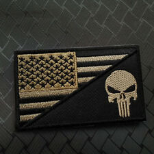 MUD TAN PUNISHER SKULL USA FLAG OP MORALE TACTACIL 3D Embroidered MORALE PATCH