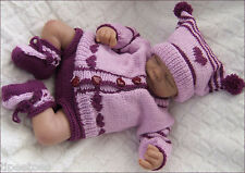 Baby Knitting Pattern DK 19 TO KNIT Girls or Reborn Dolls Cardigan Hat Booties
