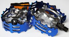"Old school BMX XC-II Wellgo bear trap pedals 1/2"" (FOR ONE PIECE CRANKS) BLUE"