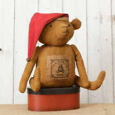 """New Primitive Country Grungy TEDDY BEAR WITH SANTA HAT Stuffed Doll 13"""""""