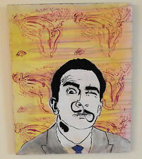 "Salvador Dali Melting Clock infinity Mustache Original Pop Graffiti Art 16"" 20"""