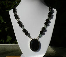 """20"""" Jet and Crystal Necklace with Black Botswana Pendant - large 14mm stones"""