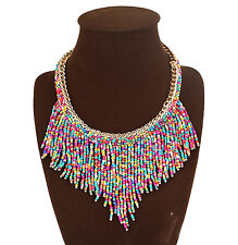 Bead Tassel Statement Necklace Multi Colour Tribal Bohemian Hippie Collar Choker