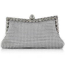 Silver Sparkly Crystal Satin Clutch Purse/Evening Bag Wedding Bridesmaid Holiday