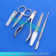 5 Pieces Cuticle Pusher Nail Cutter Ingrown Toe Nail Clipper Pedicure Tools