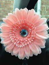 VW beetle large pale pink daisy gerbera & gem centre dash board bud vw flower