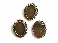 10 Antique Bronze Blanks Cabochon Bezel Settings Base 18x25mm Oval Brooch Pins