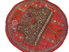 Indian Home Decor Pillow Round Circle Floor Seating Decorative Red Cushion Cover