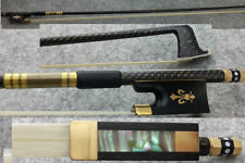 CARBON FIBRE VIOLIN BOW, 4/4, EBONY FROG, GOLD FLEUR DE LYS, GREAT BALANCE, UK!