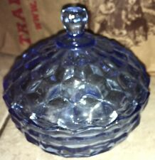 Vintage BLUE CUBE COVERED CANDY DISH BOWL LID Indiana Jeannette Whitehall