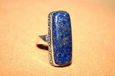 HANDMADE SILVER PLATED LAPIS RING SIZE US NO 7 STONE 28/10.7 MM RECTANGLE SHAPE